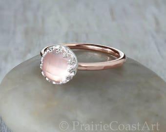 Rose Gold Rose Quartz Ring in 14k Rose Gold-Filled - Rose Quartz in Sterling Silver Crown Bezel - Handcrafted Artisan Pink Gold Ring