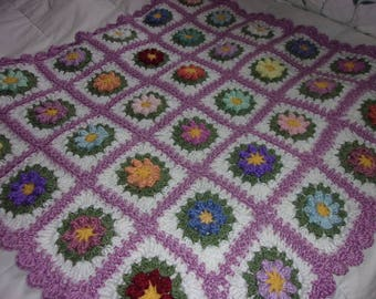 Hand crocheted granny square baby blanket..just beautiful and ready to ship!