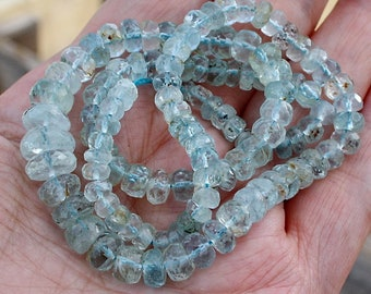 "Deep Sea Shaded Blue Moss Aquamarine Faceted Large Rondelle Beads 8"" of full 16"" strand 125ct weight"