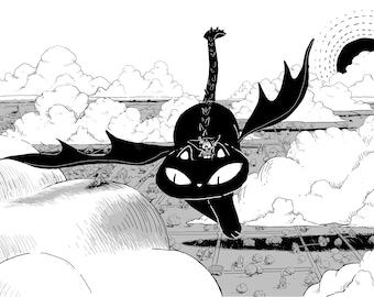 Cat Dragon Flying 12x18 Art Print