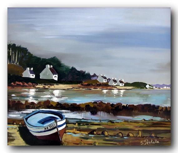tableau peinture à l'huile d'un paysage de Bretagne