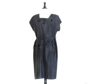Vintage Plus Dress, Black Evening Dress, 1950s Plus Size, 50s Black Dress