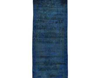 """3'9""""x9'9"""" Persian Nahavand Overdyed Vintage Runner Hand Knotted Rug"""