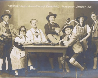 Alpine Music Singing Folk Group Antique Vintage Real Photo Postcard Innsbruck Austria History Culture Trachten Costumes