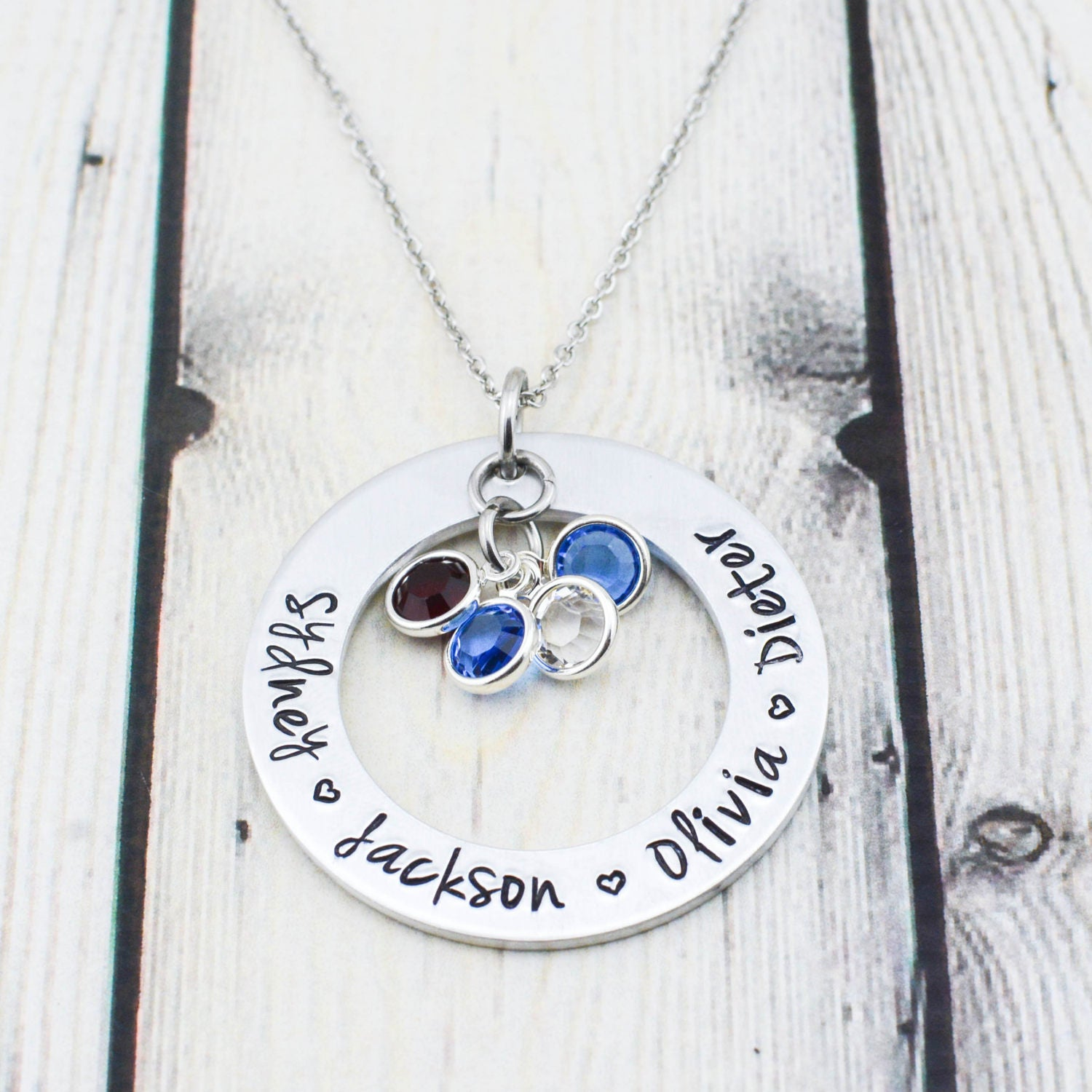 birthday necklace silver gift pin grandchildren for grandkids mom gifts grandkid sterling from birthstone grandma