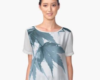 Delicate Leaf Pattern Chiffon Top, Blue Green Women's Blouse, White Tank Top, Women's Shirt, Slinky Top, Nature Photo Tank Top Wearable Art