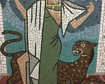 Greek Goddess with Panther Mosaic