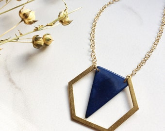Tagua nut jewelry. Blue triangle necklace. Hexagon Pendant. Navy Necklace. Gold necklace. Geometric. Sela Designs. Stocking stuffers. Cobalt