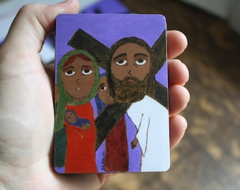 """2.5"""" X 3.5"""" Jesus meets the Holy Women Byzantine Folk style icon on wood by DL Sayles"""