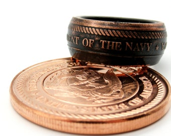 United States Navy military challenge coin ring. Made from pure.999 copper