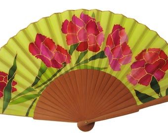 Natural silk fan hand-painted carnations AA8