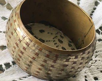 Vintage Basket Weave Brass Bangle Bracelet - Chunky Bracelet - Wide