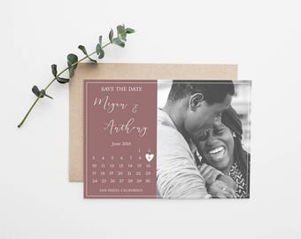 Photo Calendar Wedding Save the Date - Printable
