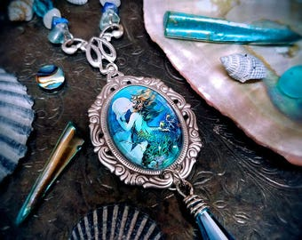 Mermaid gifts for women, Mermaid Necklace, Art Nouveau fantasy jewelry with semi-precious gemstones and abalone seashells, mothers day gift
