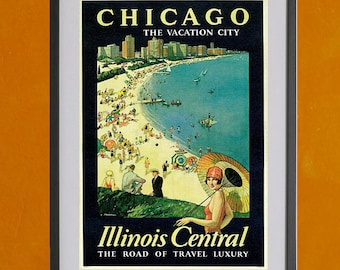 Chicago The Vacation City, 1925 - 8.5x11 Poster Print - also available in 13x19 - see listing details