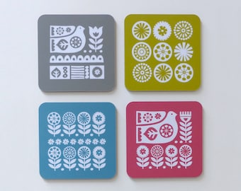 Coasters Scandinavian Bird and Flowers Swedish Scandi Retro 70s Fran Wood Design