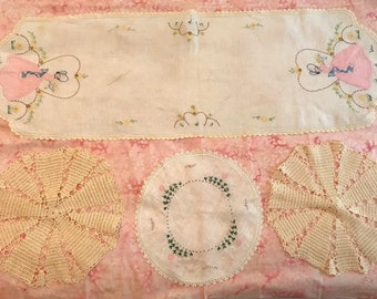 3 Antique Doilies and 1 Dresser Scarf