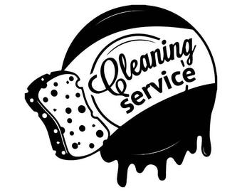 Cleaning Logo #12 Maid Service Housekeeper Housekeeping Clean Vacuum Mop Floor .SVG .EPS .PNG Digital Clipart Vector Cricut Cutting Download