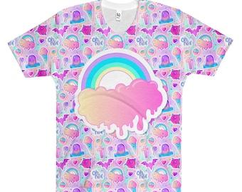 Melting Rainbow Pastel Goth Shirt, Creepy Cute Clothing, Soft Grunge Shirt, Pastel Rainbow T-shirt, Pastel Goth Clothes, Kawaii Harajuku