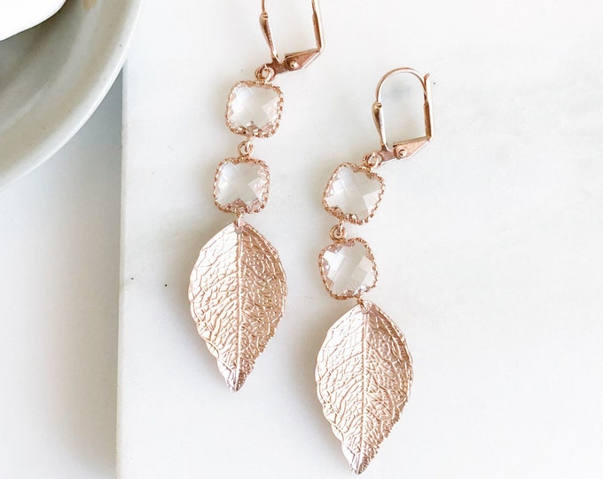 Rose Gold Leaf and Clear Stone Dangle Earrings. Rose Gold Drop Earrings.  Jewelry. Leaf Earrings. Dangle Earrings. Gift.