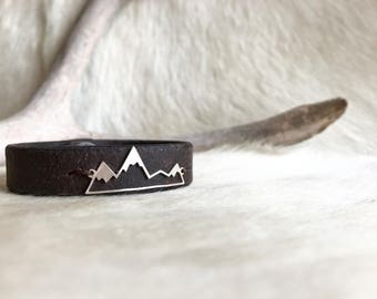 Sterling silver mountain bracelet on leather, the mountains are calling, mountain landscape, cuff bracelet, mountain jewelry
