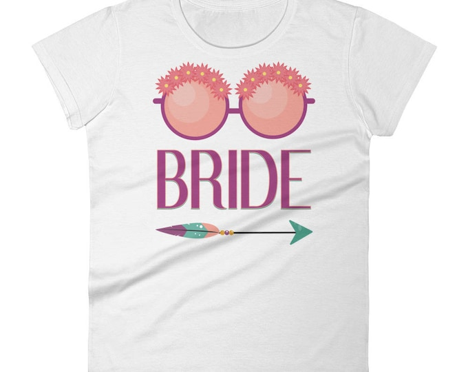 Bride Floral Glasses Bohemian Arrow Women's t-shirt | Wedding, Bachelorette Party T-Shirt | Bride T-Shirts | Bachelorette Shirts
