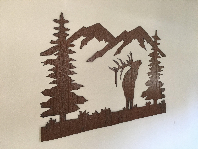 Rustic Elk Mountain metal wall art, Colorado Metal wall art, Forest ...