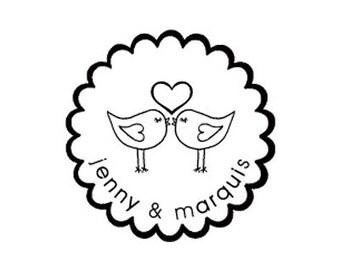 love birds custom Rubber stamp great gift lovebirds wedding save the date
