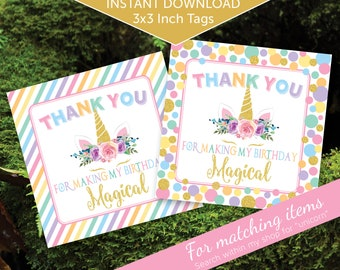 Unicorn Party Favor Thank You Tags for Birthday   Rainbow Colors   3x3   Unicorn Magic   Digital Printable   INSTANT DOWNLOAD