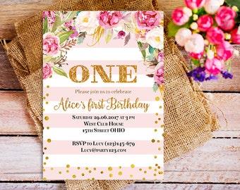 pink gold 1st Birthday Invitation Girl, gold glitter Birthday party Invitation, boho flower first Birthday Invitation, 3rd bday invite