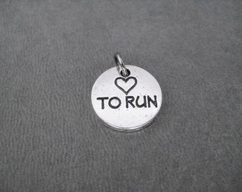 Heart To Run Round Pewter Pebble Charm - Add ONE (1) Charm to your Necklace or Wrap Bracelet - Pewter Runner Charm - Runner Bracelet Charm