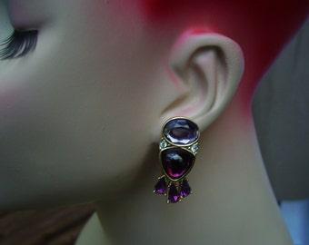 YSL Yves Saint Laurent Glass and Rhinestones Earrings for pierced ears
