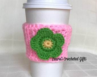 Coffee Cup Cozy, Crochet Coffee Sleeve, Reusable Pink Coffee Cozy, Green Flower Coffee Cozy, Handmade Crochet Coffee Cozy, Pink Coffee Cozy