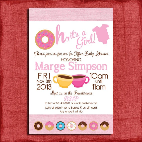 Printable office donut baby shower invitation great for filmwisefo