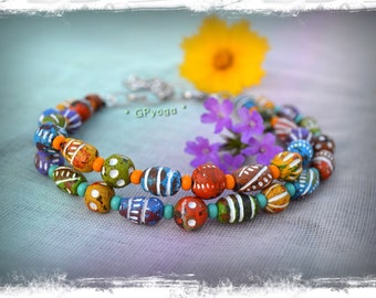 FESTIVAL of Colors Anklet 2-strand anklet Bikini Rainbow ANKLE Bracelet Turtle charm beaded Anklet Boho jewelry HIPPIE foot jewelry GPyoga