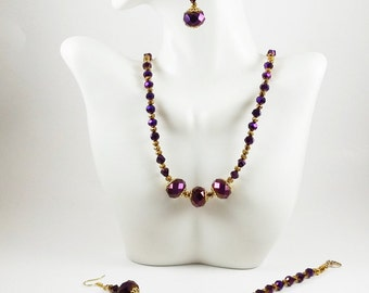 Purple Iridescent Crystal Necklace Set