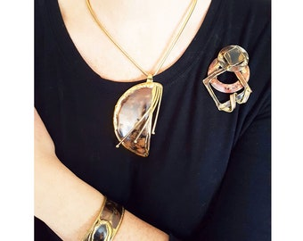 Brutalist Retro Modern Chic Mixed Metals Jewelry Set Suite, Matching set of Necklace, Bracelet, and Brooch in Brass and Oxidized Copper