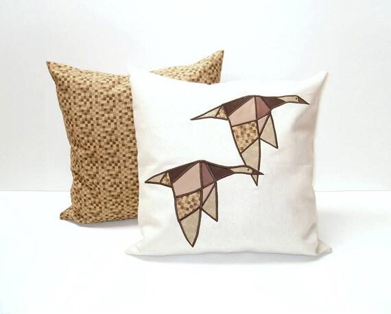 Modern Geometric  Bird Cushions, Designer Pillow,  Appliquéd  Throw Pillows (2)  Minimal Design,  Brown -White - Mustard , Wild Geese Pillow