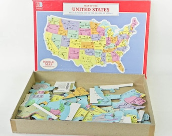 Incomplete USA Map Puzzle - World Map - Vintage Milton Bradley Puzzle Pieces - United States - Missing Pieces - Craft Supply