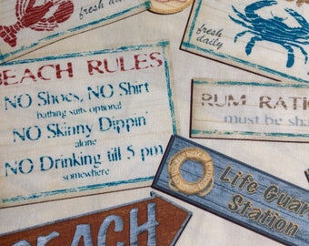 Nautical- Living Seas Beach Signs by Kate Ward Thacker/Next Day Art for Springs Creative Products Group/Quilting Fabric/HALF Yard Pricing