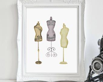 Vintage Dress Forms, Sewing Room Décor, Bedroom Décor, Wall Art, Printable Art, Printable Wall Décor, Instant Download, Digital Print