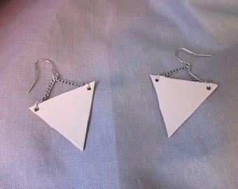 Beige triangle earrings
