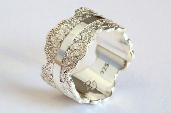 Unique Silver Wedding Band with Lace Texture Wide Silver