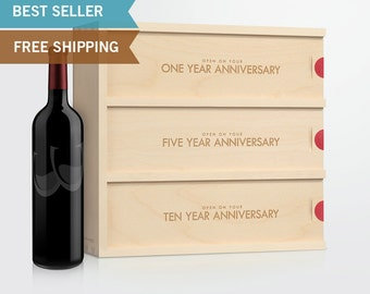 Anniversary Wine Box - Classic Trio // Wedding Gift for the Couple // Engagement Gift // Wedding Gift // Anniversary Gift / Wedding Wine Box