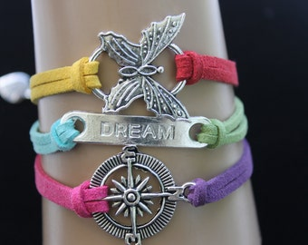 Rainbow Bracelet   Butterfly, Compass, Dream ,Charm n Suede Adjustable Bracelet By: Tranquilityy