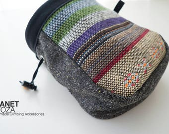 Chalk Bag - patchwork / rainbow striped fabric and dark grey fabric  / gift for climbers