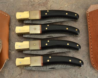 Damascus Steel Lot of 4 Laguiole Knives(LG-1)