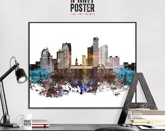 Detroit poster, Detroit art print, Detroit skyline art, Detroit distressed wall art, travel decor, home decor, iPrintPoster