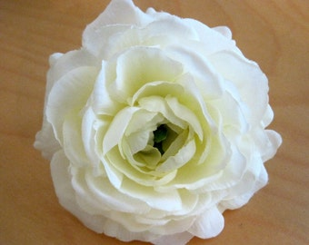 "3.5"" White Silk Flower Ranunculus Brooch Pin"