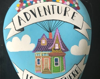 """Disney UP house with balloons """" adventure is out there""""  hand painted rock"""